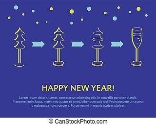 sapin, et, a, verre, de, champagne., nouvel an, carte