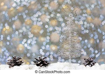 sapin, fait, branches, arbre, fil, fond, noël