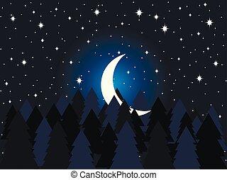 sapin, flat., sky., étoilé, illustration, lune, forest., vecteur, arbres, minuit, impeccable, croissant