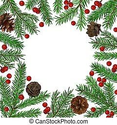 sapin, fond, cones., arbre, symbole., texte, réaliste, vert, endroit, branche, année, nouveau, noël, congratulation.