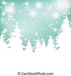 sapin, fond, noël arbres, neige