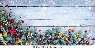 sapin, frontière, -, noël, branches