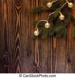 sapin, guirlande, bois, vendange, branche, atmosphere., background.christmas