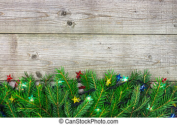 sapin, guirlande, coloré, lumières arbre, branche