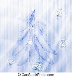 sapin, hiver, étoiles, arbre, vecteur, fond, flocons neige