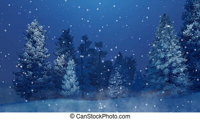 sapin, hiver, neigeux, chute neige, 4k, nuit, forêt