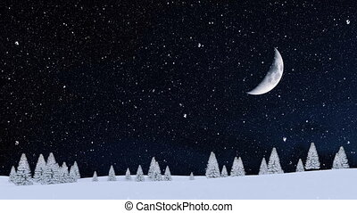 sapin, hiver, neigeux, chute neige, forêt, nuit, 4k