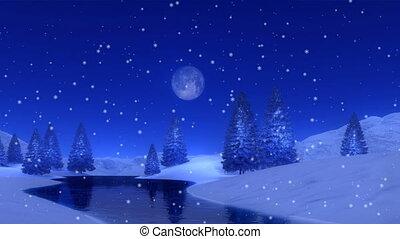 sapin, hiver, neigeux, lac gelé, 4k, nuit, forêt