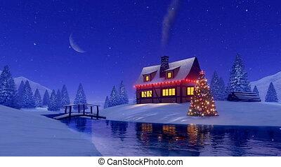 sapin, maison, arbre, nuit, décoré, noël