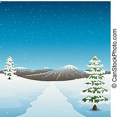 sapin, montagnes, arbres hiver, route, paysage