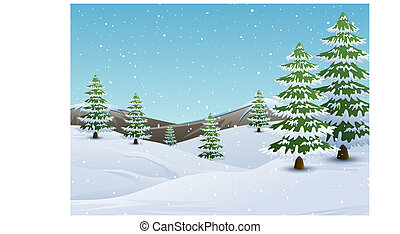 sapin, montagnes, hiver, neige, arbres, tomber, paysage