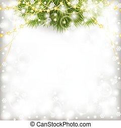 sapin, perles, guirlande, or, branche, décoré, noël carte