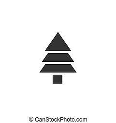sapin, plat, arbre, icône