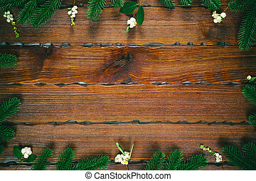 sapin, plat, branches, formulaire, espace, bois, brun, cadre, sommet, gratuite, noël, arrière-plan., vue, composition., poser