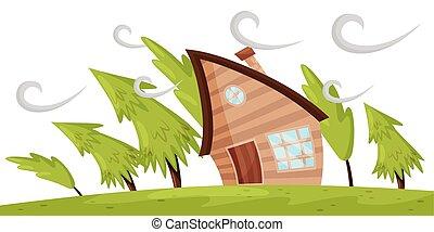 sapin, plat, souffler, naturel, wind., maison, loin, puissant, scène, arbres, vecteur, windstorm., fort, désastre