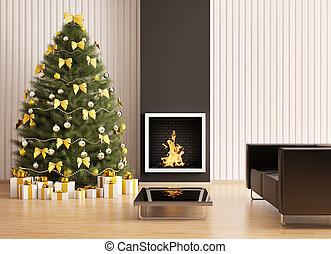 sapin, salle, render, moderne, arbre, intérieur, cheminée, noël, 3d