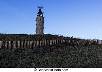 sapka, gris, nez, világítótorony, alatt, franciaország