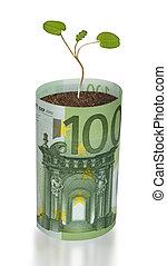 sapling, groeiende, van, eurobiljet
