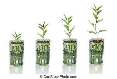 sapling growing from euro