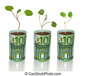sapling growing from euro