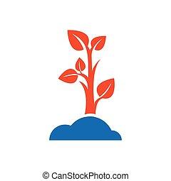 sapling icon design blue and orange