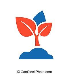 sapling icon vector blue and orange