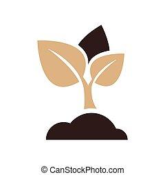 sapling icon vector brown color