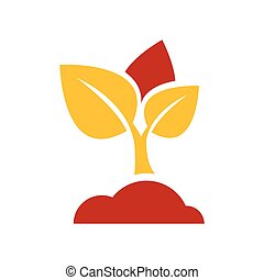 sapling icon vector yellow and red color