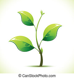 Sapling - illustration of plant sapling growing on abstract...