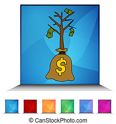 Sapling Money Tree Button Set