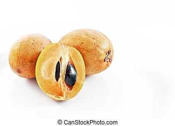 sapodilla fruit on white background