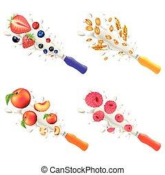 sapori, differente, set, esplosione, plastica, vettore, bottiglia, yogurt, 3d