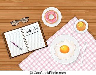 saporito, colazione, uovo, tè