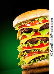 saporito, e, appetitoso, hamburger, su, uno, scuramente,...