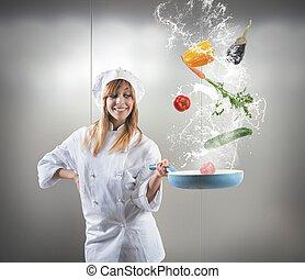 saporito, ricetta, di, uno, chef