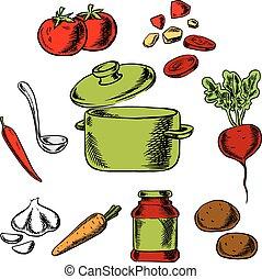 saporito, ricetta, minestra, vegetariano