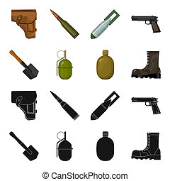Sapper blade, hand grenade, army flask, soldier s boot. Military and army set collection icons in black, cartoon style bitmap symbol stock illustration .