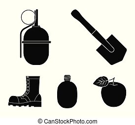Sapper blade, hand grenade, army flask, soldier's boot. Military and army set collection icons in black style vector symbol stock illustration web.