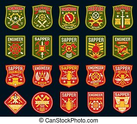 Sapper or combat engineer military patches, badges