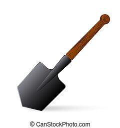 Sapper shovel on a white background