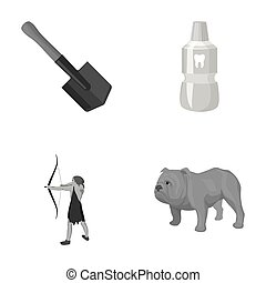 Sapper shovel, tooth elixir and other monochrome icon in cartoon style. ancient hunter, English bulldog icons in set collection.