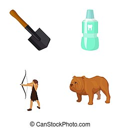 Sapper shovel, tooth elixir and other web icon in cartoon style. ancient hunter, English bulldog icons in set collection.