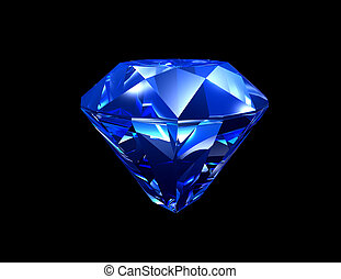 Sapphire - 3d illustration looks blue sapphire on black...