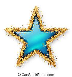 Sapphire Blue Coloured Gemstone Star with Golden Starlet...