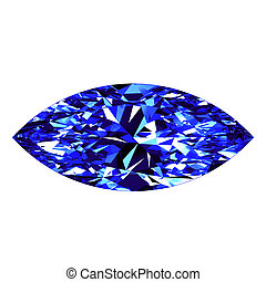 Sapphire Marquise Cut Over White Background. 3D...