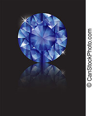 Sapphire reflected - A brilliant cut sapphire isolated on...