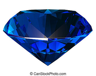 Sapphire side view 3D illustration