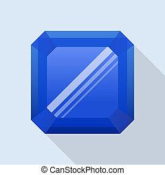 Sapphire stone icon, flat style