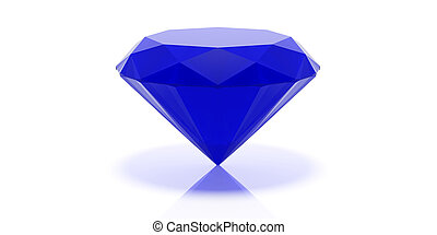 Sapphire stone isolated on white. 3d illustration