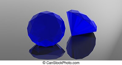 Sapphire stones isolated on blue background. 3d illustration